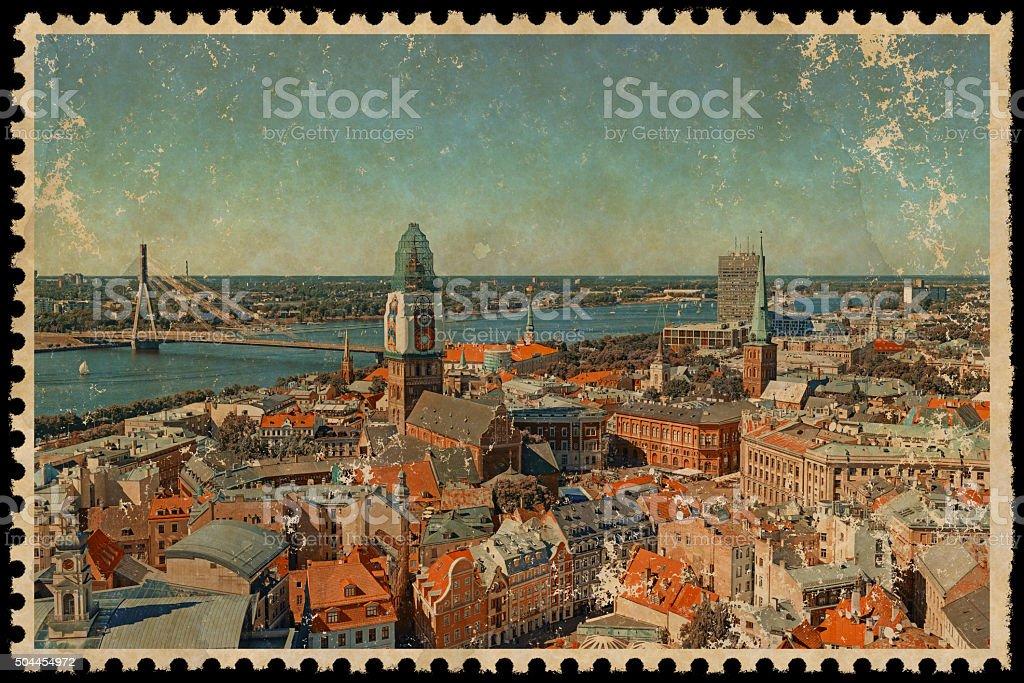 Vintage Riga City Stamp stock photo