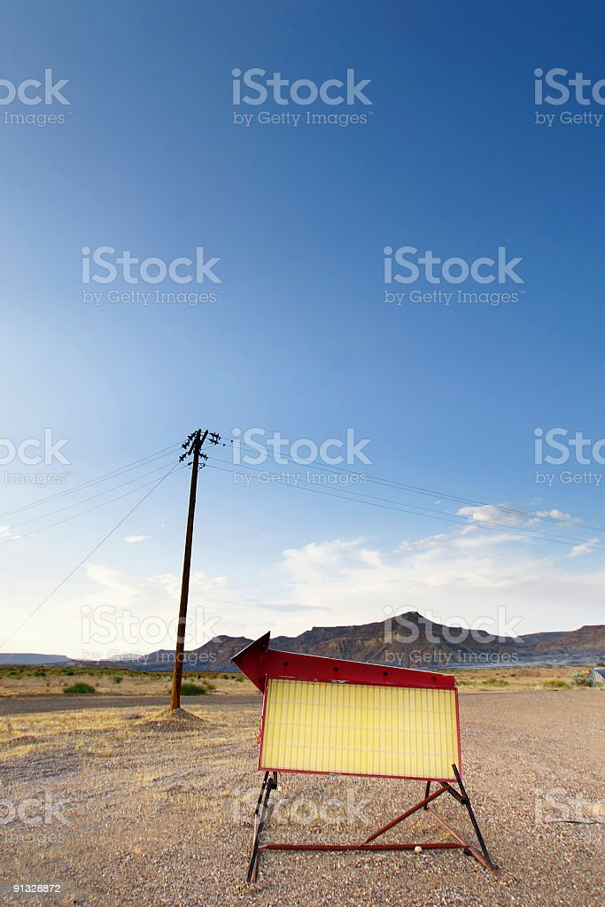 vintage roadside sign and land lines royalty-free stock photo