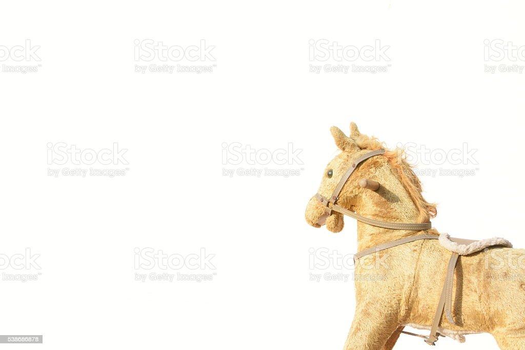 vintage rocking horse isolated on white stock photo