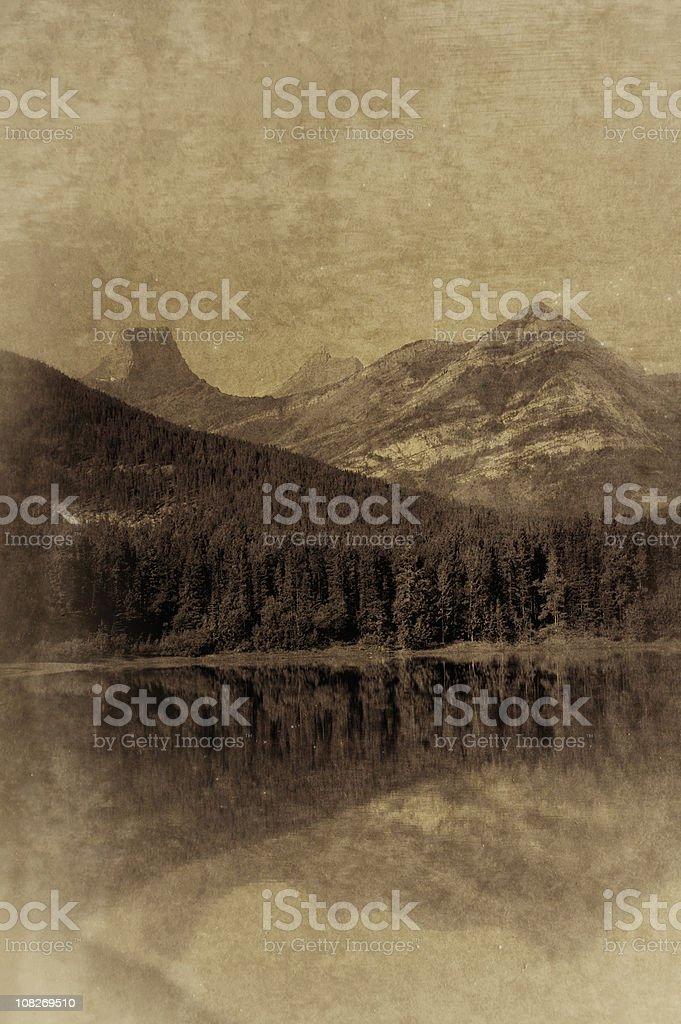 Vintage Rocky Mountain Lake royalty-free stock photo