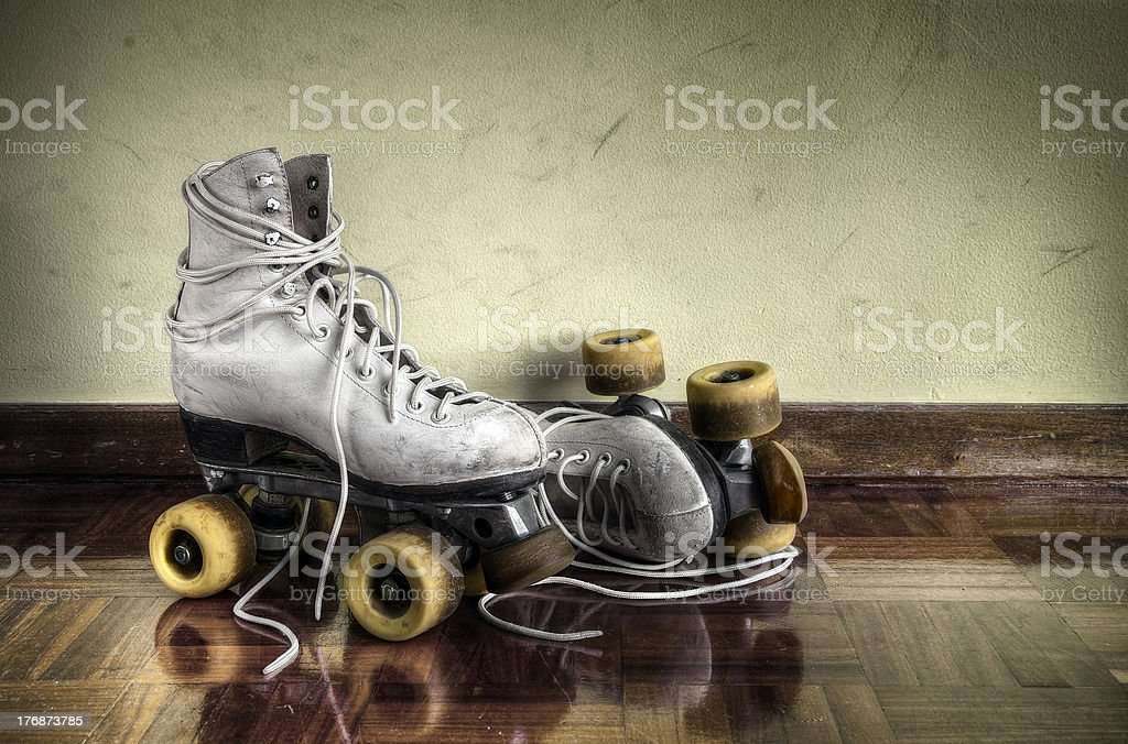 Vintage roller skates stock photo
