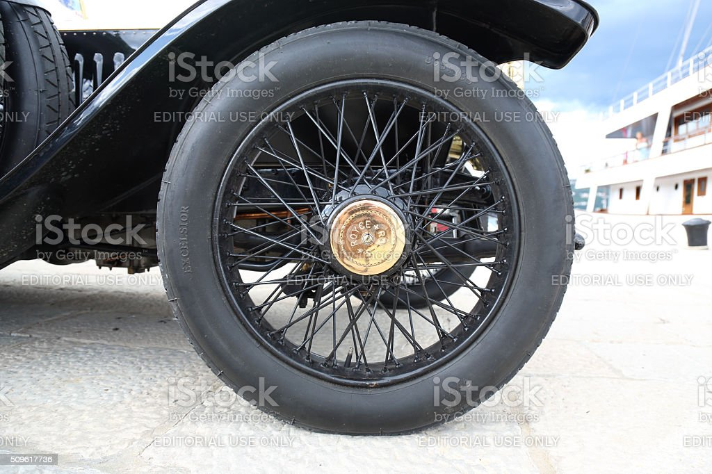 Vintage Rolls Royce wheel stock photo