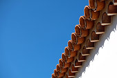 vintage roof tiles, blue sky, copy space