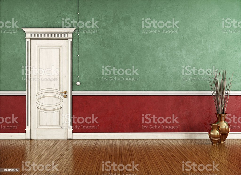 Vintage room with classic closed door royalty-free stock photo