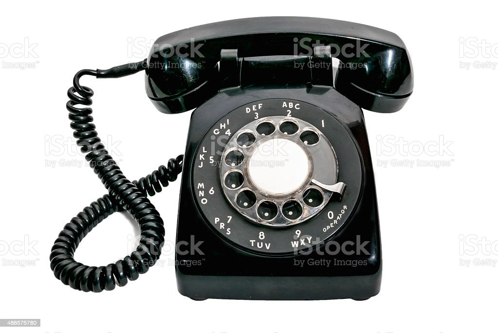 Vintage Rotary Dial Black Telephone Isolated stock photo