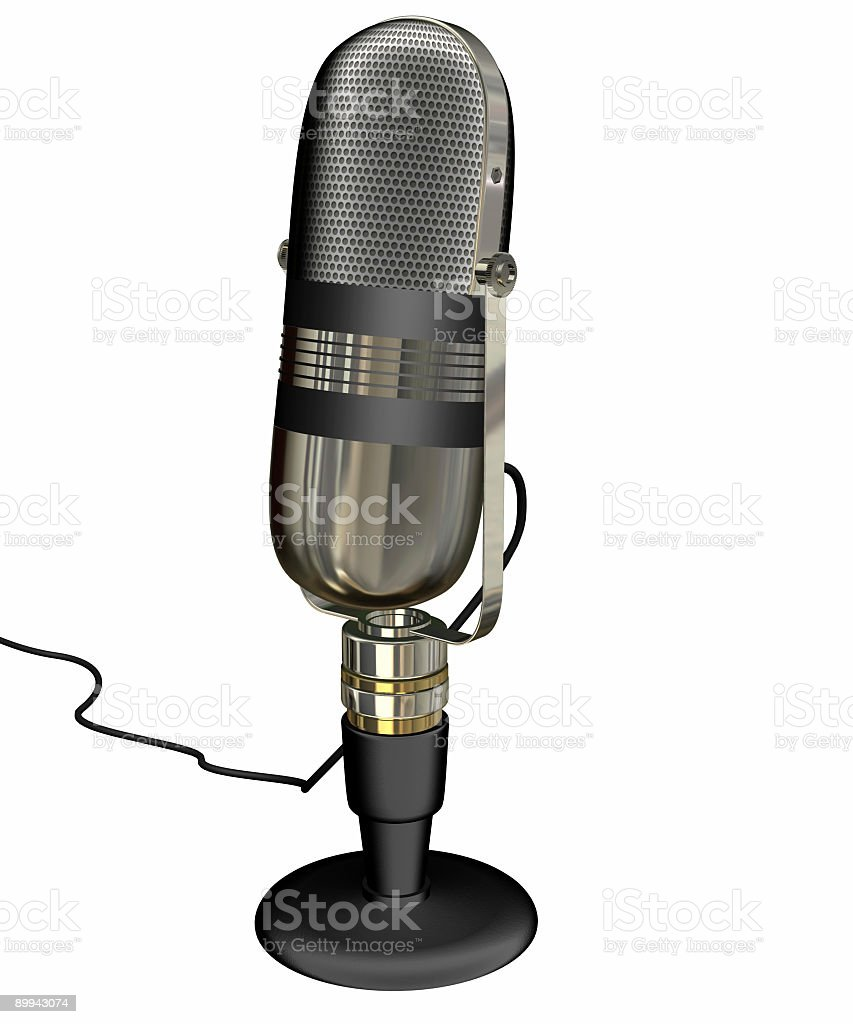 Vintage Round Microphone (Isolated) royalty-free stock photo