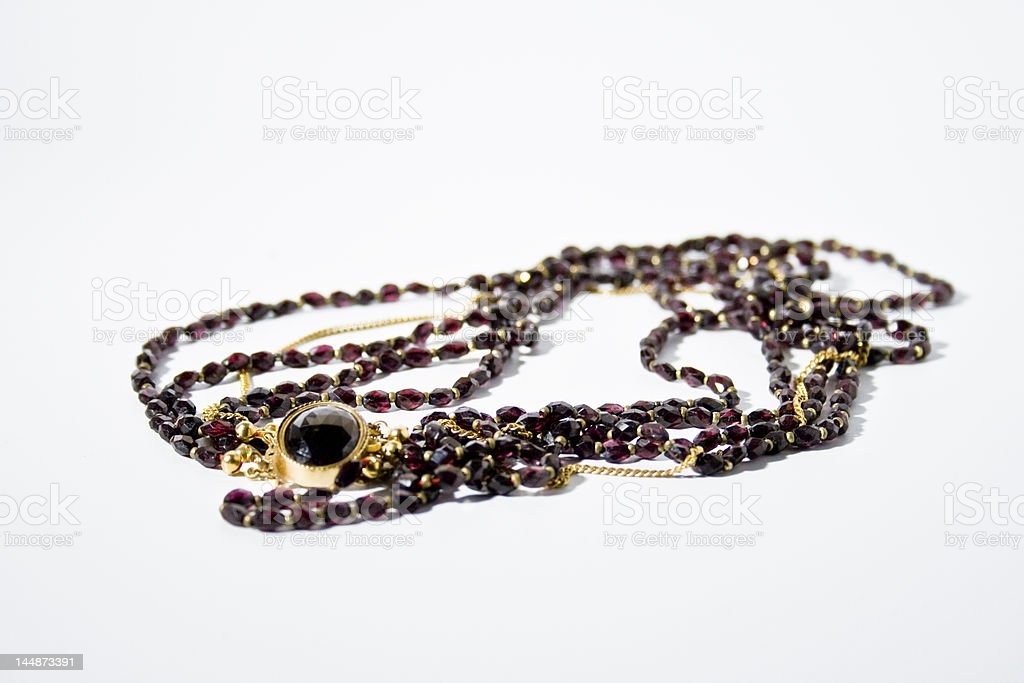 vintage ruby necklace stock photo
