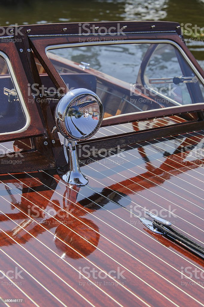 Vintage Runabout Foredeck & Searchlight stock photo