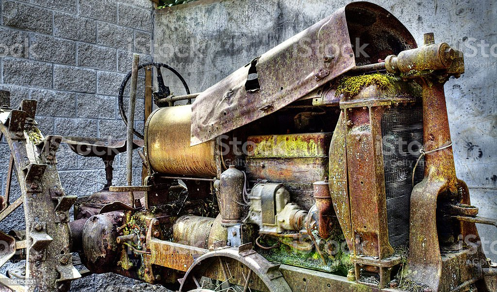 Vintage Rusted, Broken Tractor royalty-free stock photo
