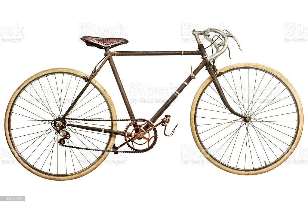 Vintage rusted race bike isolated on white stock photo