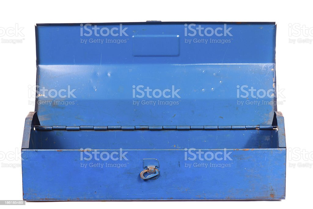 Vintage rusty blue steel tool box isolated royalty-free stock photo