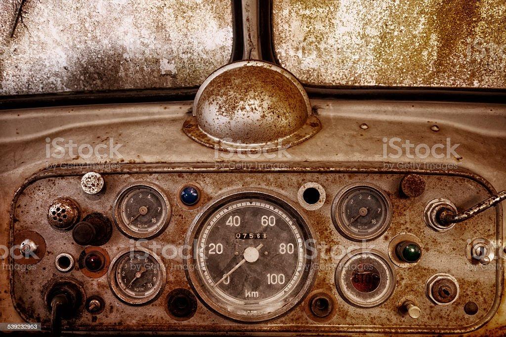 Vintage, Rusty Car Interior stock photo