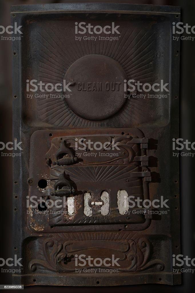 Vintage Rusty Coal Furnace stock photo