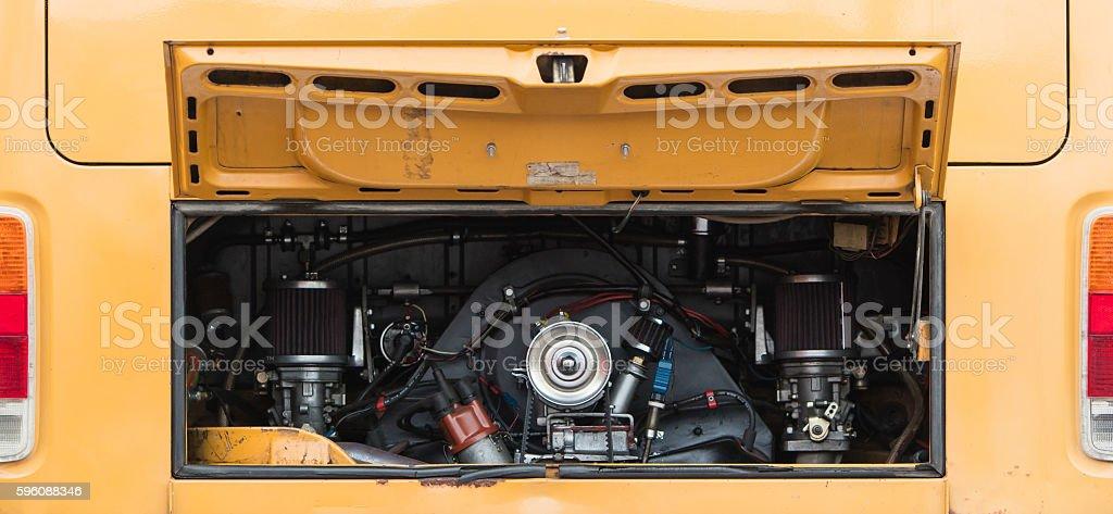 Vintage rv camper-van engine close-up stock photo
