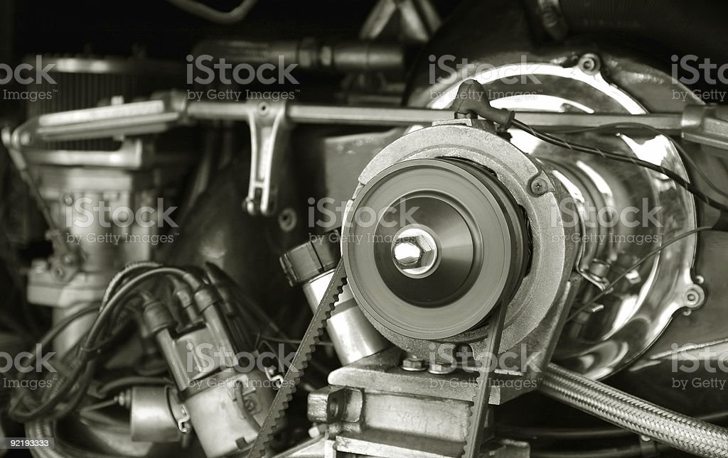 vintage RV engine stock photo