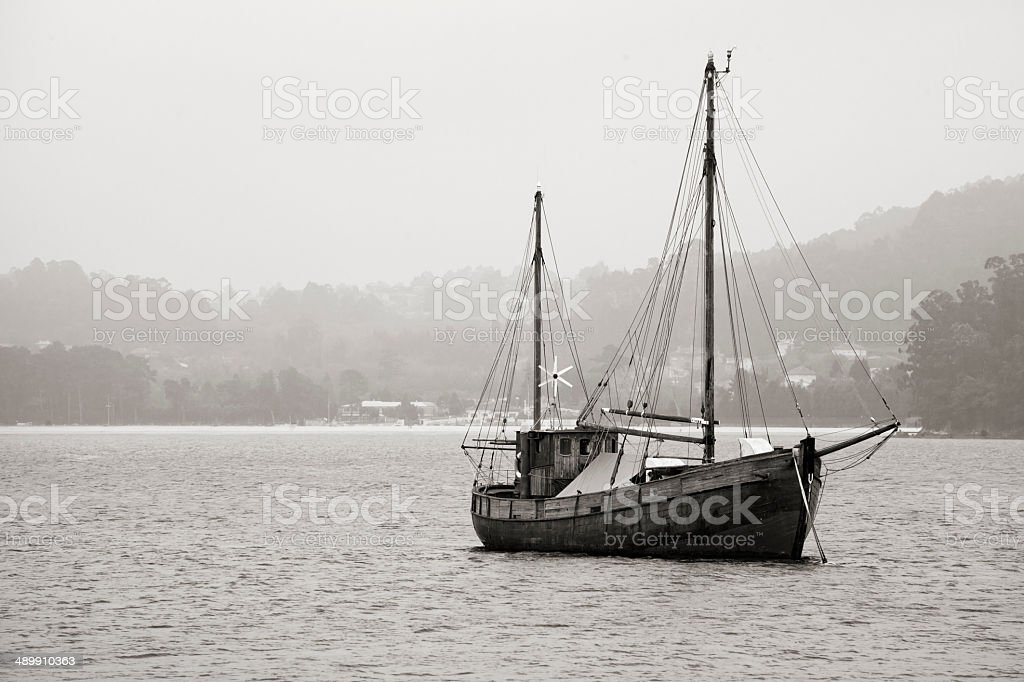Vintage sailing boat stock photo