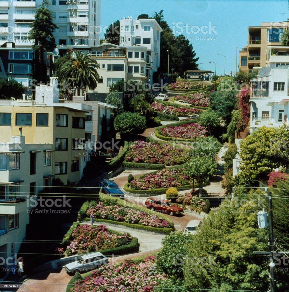 Vintage: San Francisco - Lombard Street, 1960s 35mm Film stock photo