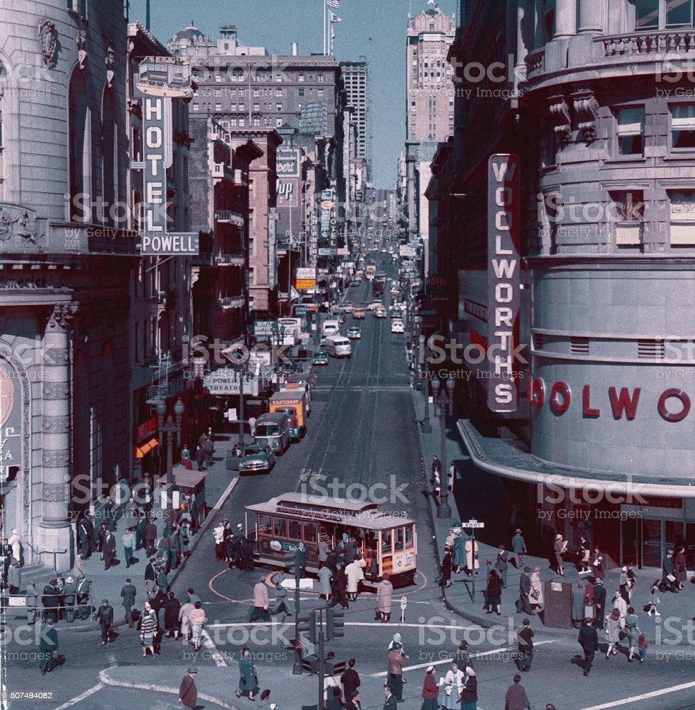 Vintage: San Francisco - Market Street, 1960s stock photo