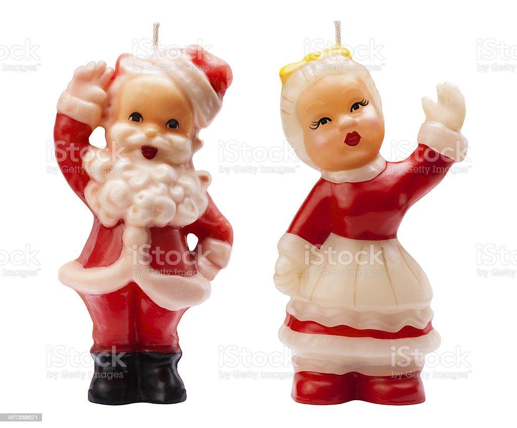 Vintage Santa Christmas Candles stock photo