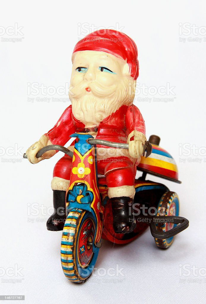 Vintage Santa on Motorcycle stock photo