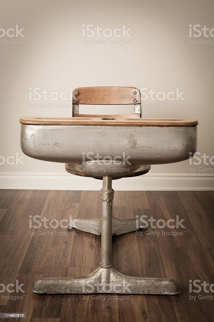 Vintage School Desk On Hardwood Floor royalty-free stock photo