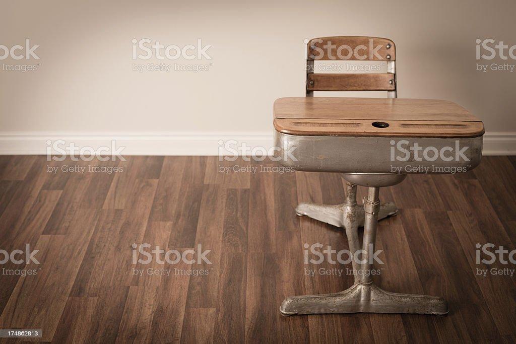 Vintage School Desk On Hardwood Floor, With Copy Space royalty-free stock photo