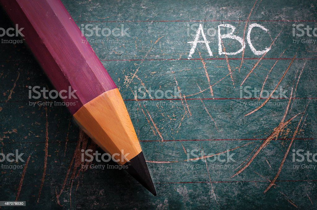 Vintage Schoolboard and Pen stock photo