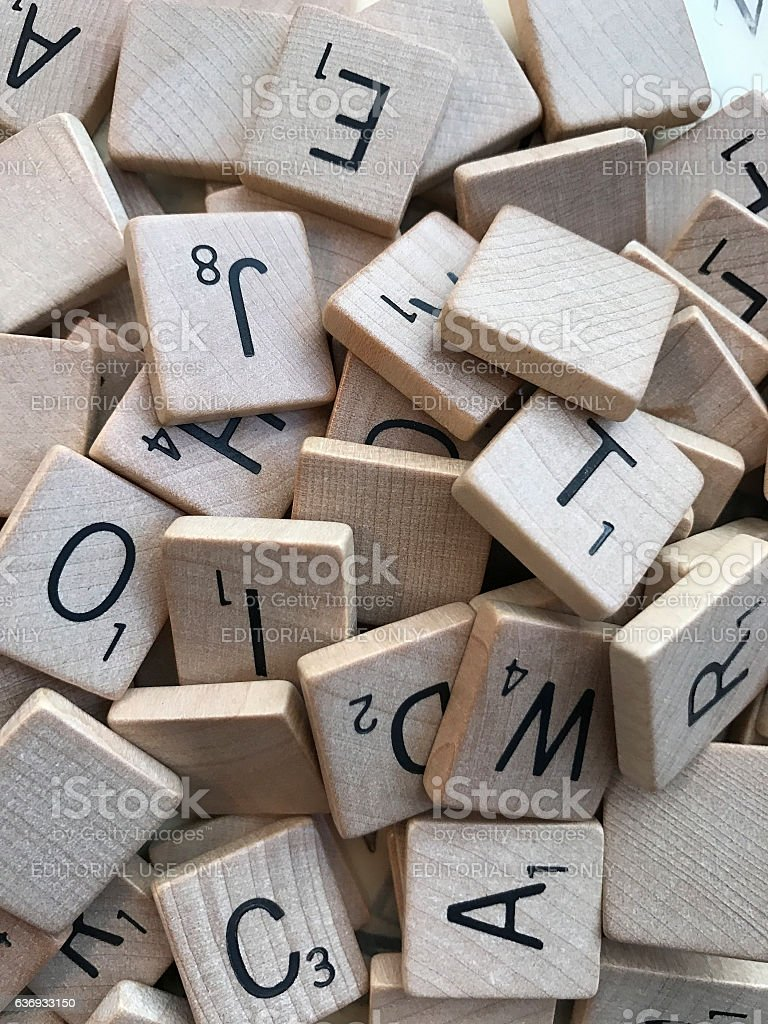 Vintage Scrabble Letters in a Pile stock photo