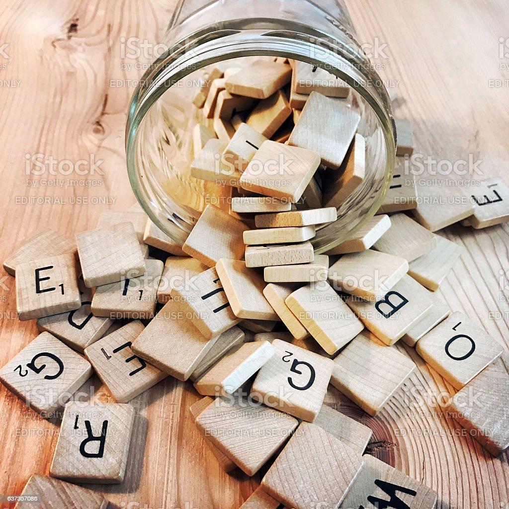 Vintage Scrabble Tiles stock photo