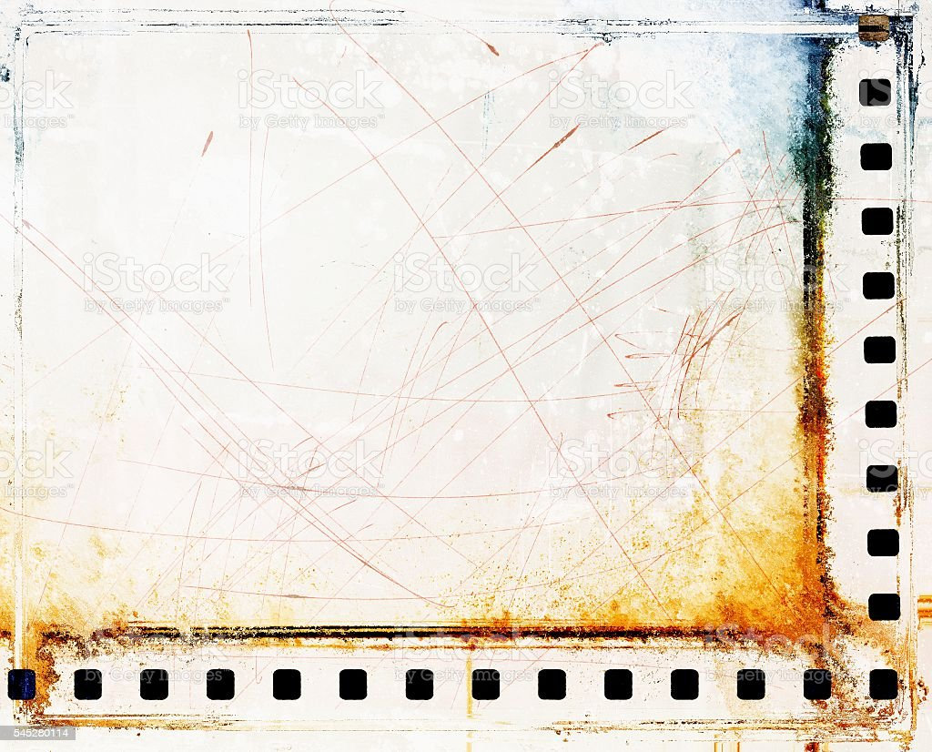 Vintage scratched film strip borders stock photo