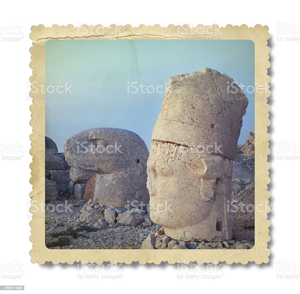 Vintage Sculptures of the Commagene Kingdom Photo (Clipping Path) stock photo
