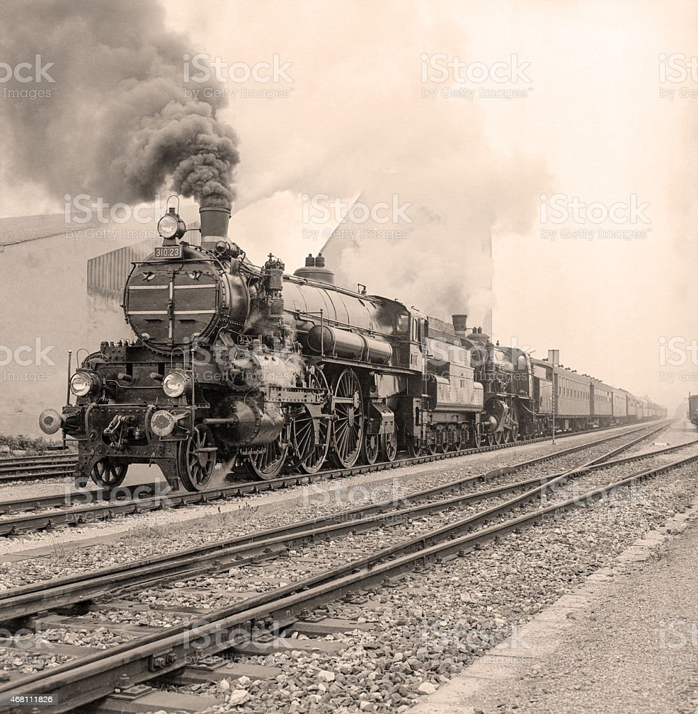 Vintage sepia photo of a steam locomotive stock photo