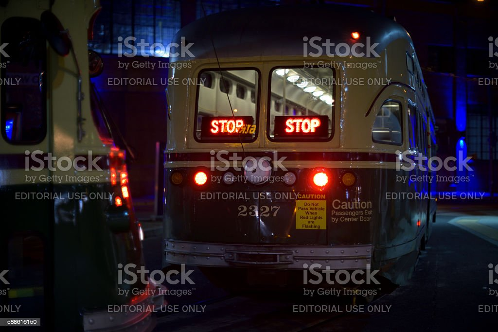 Vintage SEPTA Trolleys in Philadelphia, PA stock photo