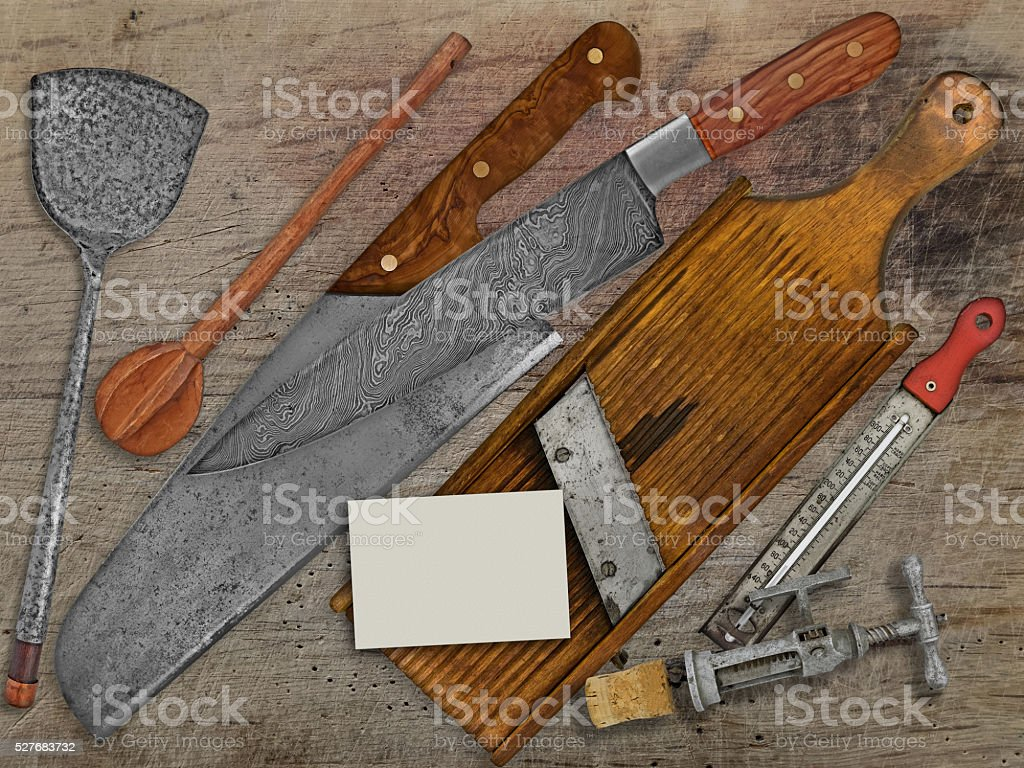 vintage set for cooking over wooden table stock photo