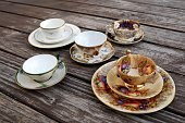 Vintage set of tea cups for tea party
