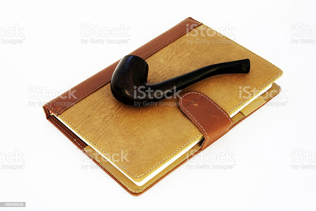 Vintage setting of Pipe and Diary royalty-free stock photo