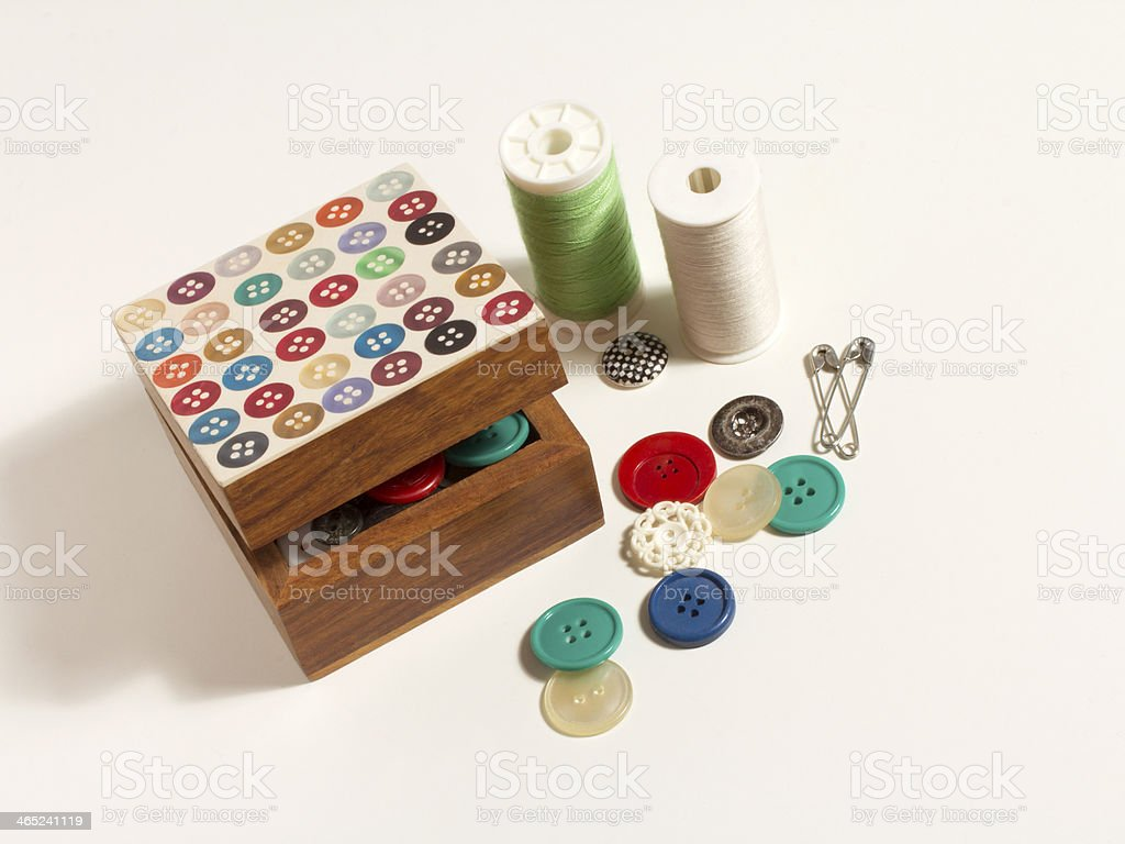 Vintage Sewing items stock photo