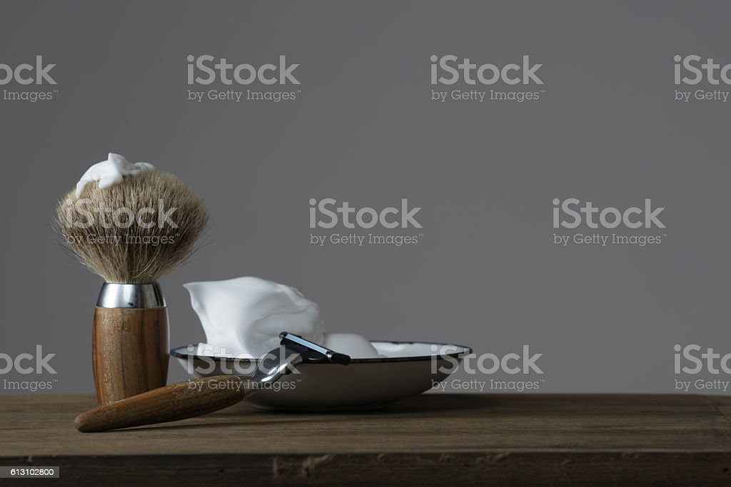 vintage Shaving Equipment on wooden Table stock photo