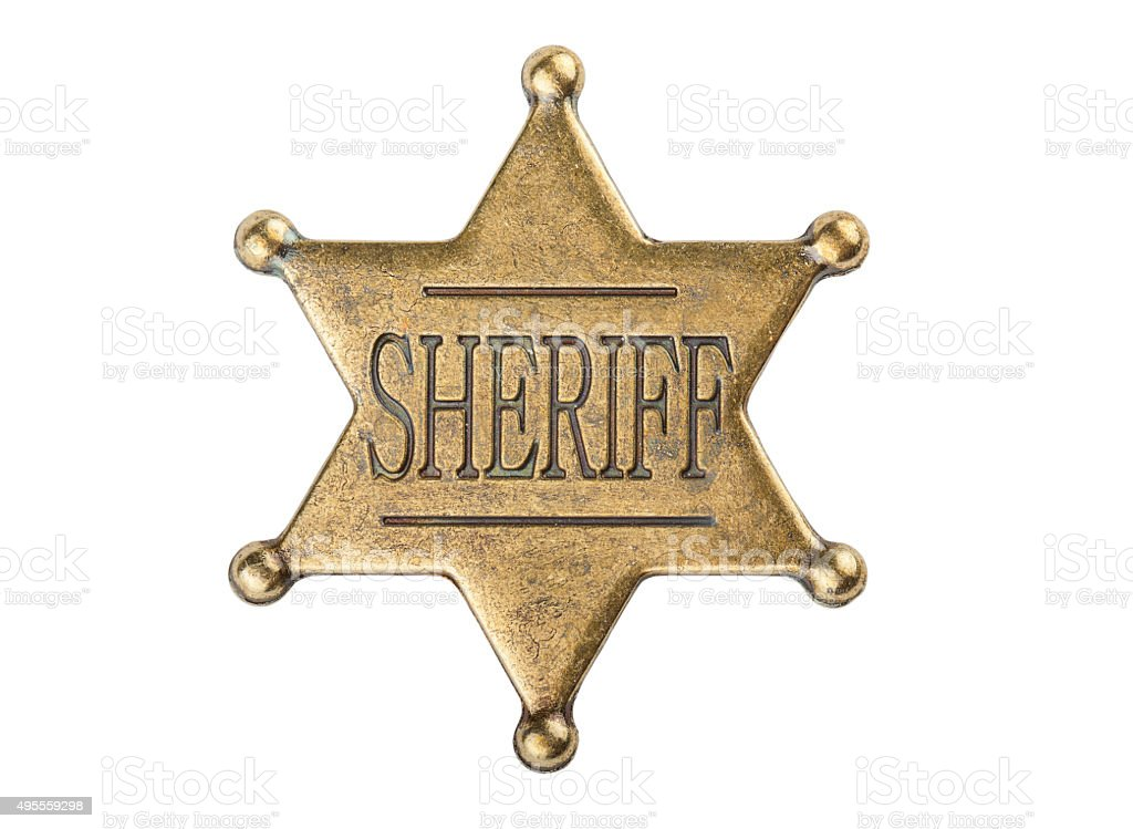 Vintage sheriff star badge stock photo