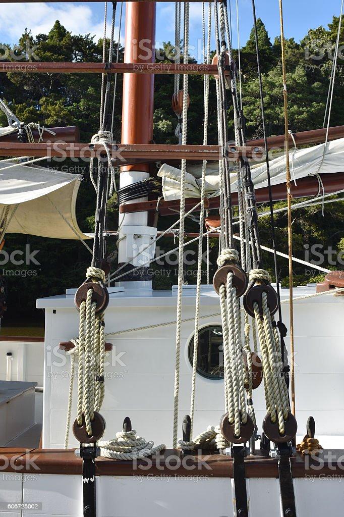 Vintage ship rigging stock photo