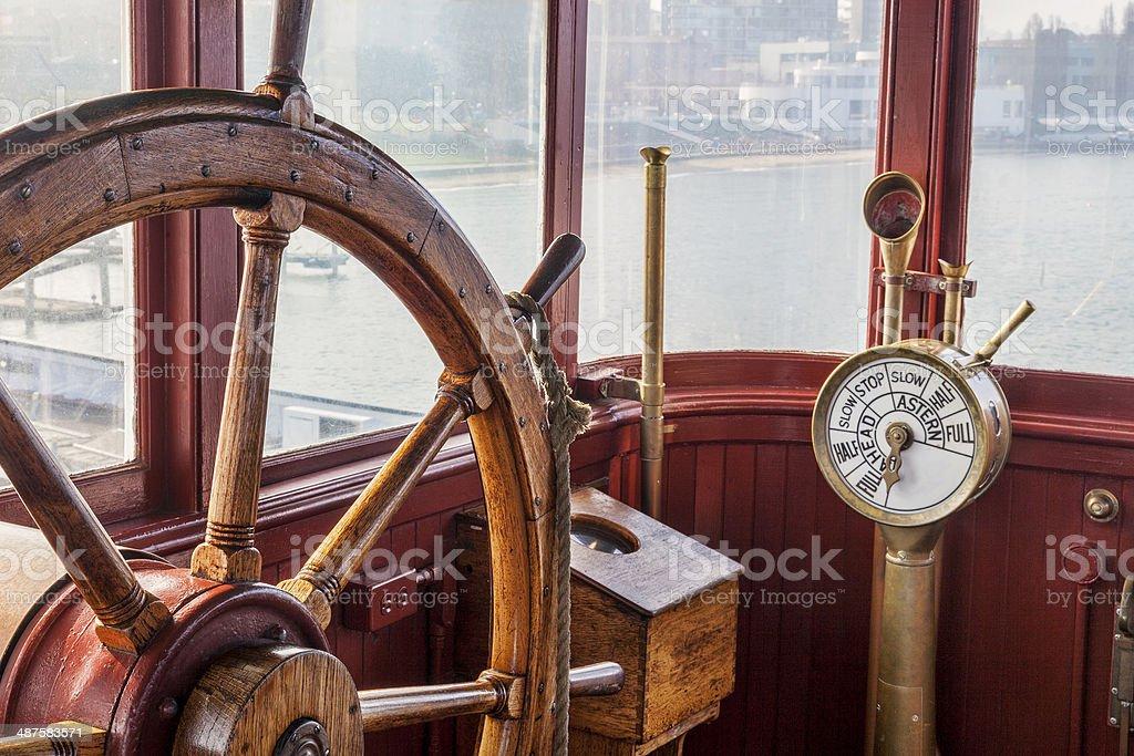vintage ship steering wheel stock photo