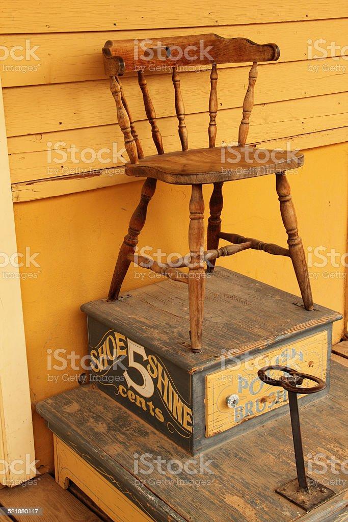 Vintage Shoe Shine Chair royalty-free stock photo - Vintage Shoe Shine Chair Stock Photo 524880147 IStock