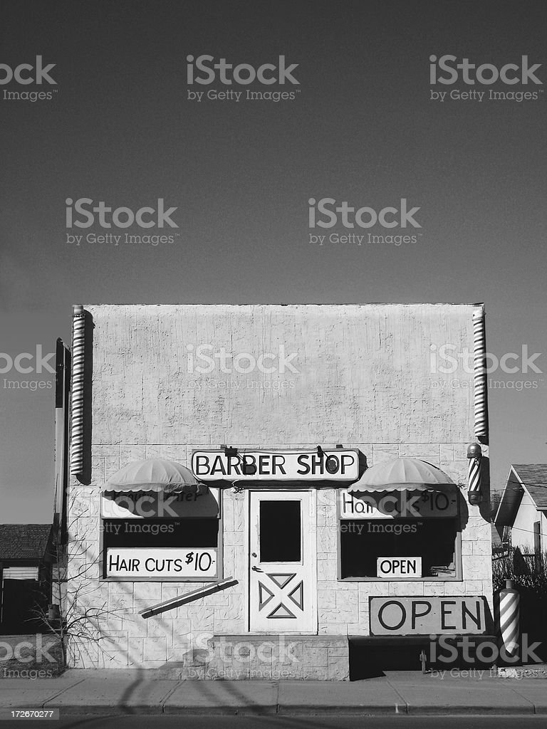 Vintage shop front - Barber Shop stock photo