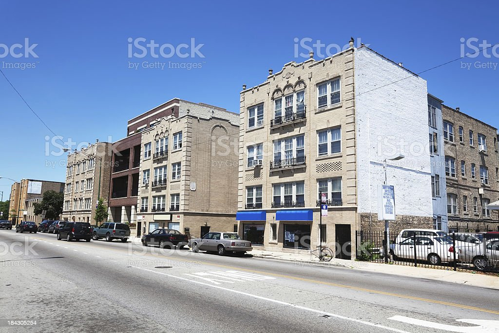 Vintage Shops and Apartment Buildings in North Park, Chicago royalty-free stock photo