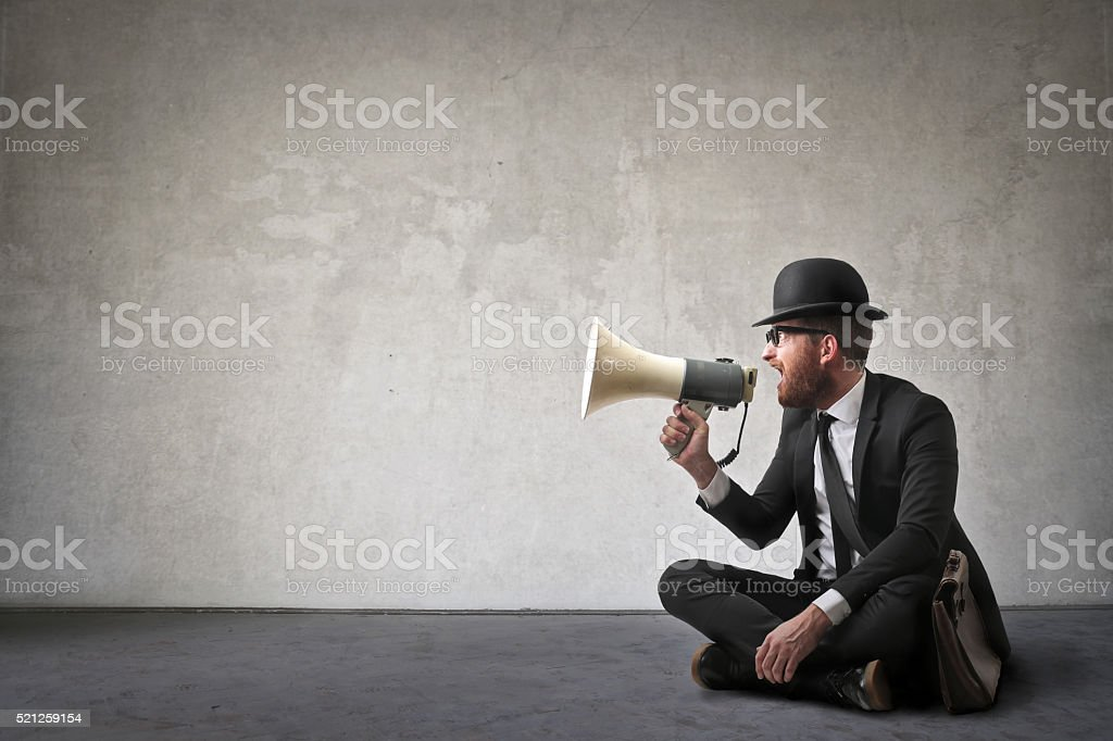 Vintage shout stock photo