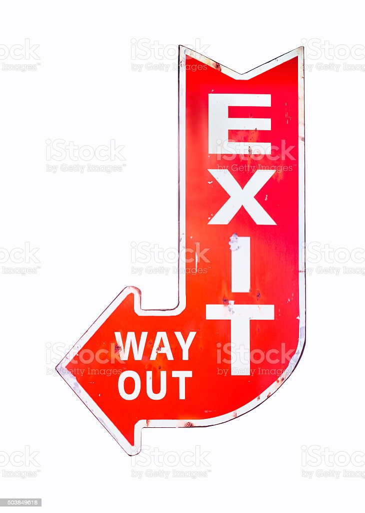 Vintage sign Exit Way out Retro style isolated Signage stock photo