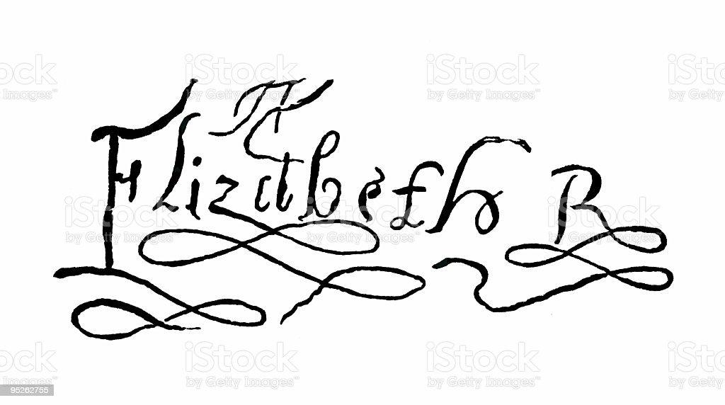Vintage Signature of Queen Elizabeth stock photo