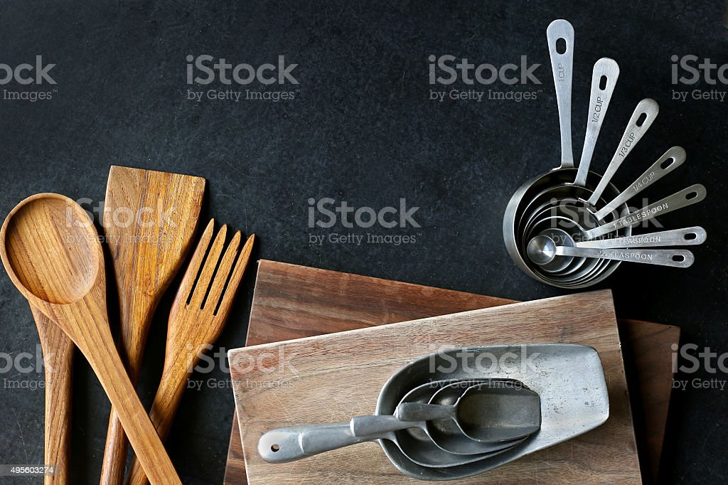 Vintage Silver and Wooden Baking Supplies Border stock photo