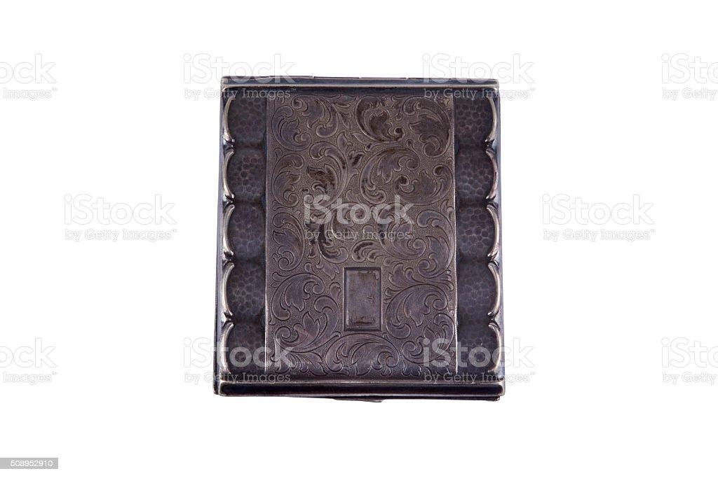 Vintage silver cigarette case stock photo
