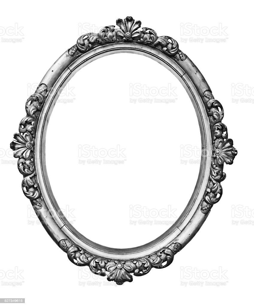 vintage silver oval frame stock photo